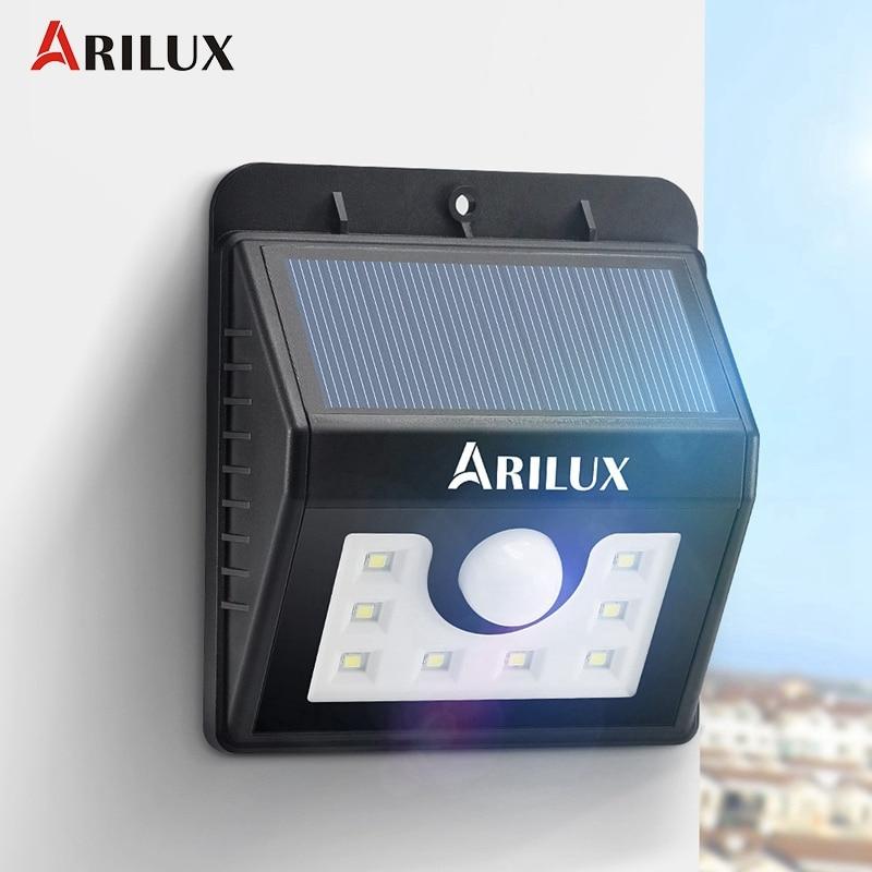 ARILUX AL-SL01 PIR Motion Sensor 8 <font><b>LED</b></font> Solar <font><b>Light</b></font> Waterproof <font><b>Outdoor</b></font> Solar Power <font><b>LED</b></font> Garden <font><b>Light</b></font> Pathway Wall Lamp
