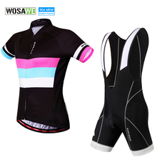 WOSAWE Women Cycling Jersey 2019 Ropa Ciclismo Pro Bike Jersey Maillot With Bib Shorts Padded Bicycle Clothing Clothing Set