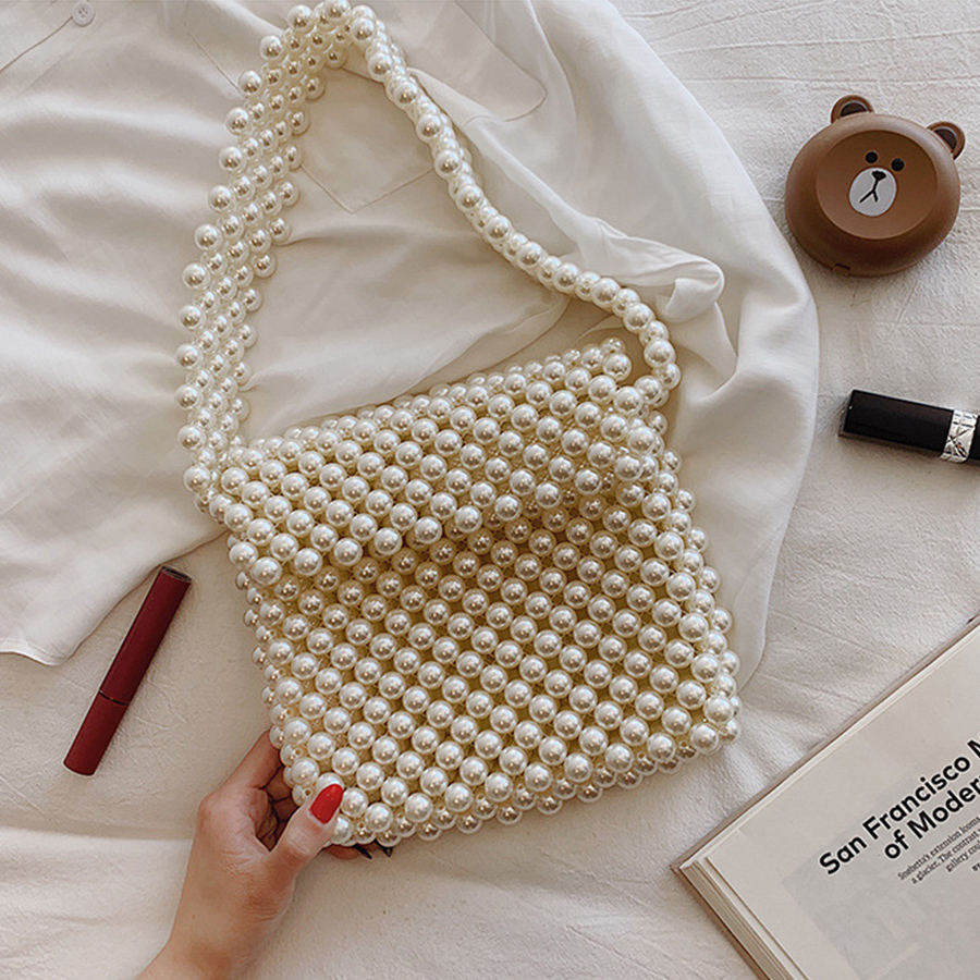 Handmade Women Pearl Bags Beaded Shoulder Bags Charm Acrylic Beads Bag White Pearls Crossbody Bag Evening Clutch Purse Lady 2019