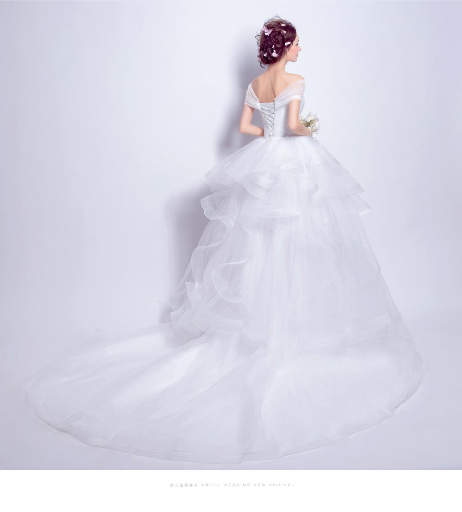 Angel Wedding Dress Marriage Evening Bride Party Prom Bridal Gown Vestido De Noiva 2017 Boat Neck asymmetrical7207 15