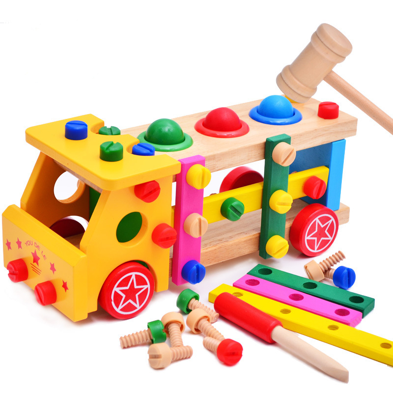 Wooden assembled screwdriver multifunction knock the ball screw car assembly car model puzzle toys for children kidsWooden assembled screwdriver multifunction knock the ball screw car assembly car model puzzle toys for children kids