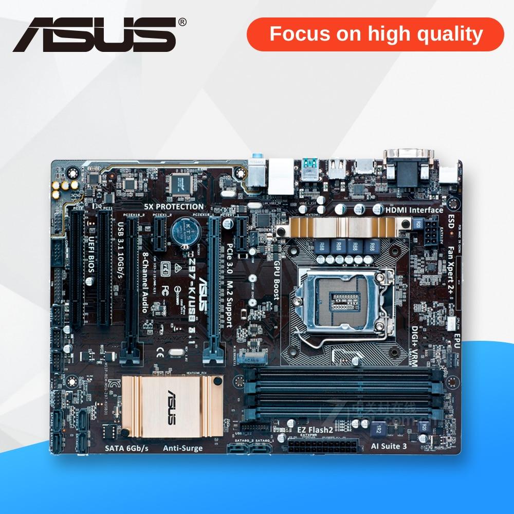 Asus Z97-K USB3.1 Desktop Motherboard Z97 Socket LGA 1150 i7 i5 i3 DDR3 32G SATA3 USB3.0 ATX asus z97 a usb3 1 original used desktop motherboard z97 a usb3 1 z97 socket lga 1150 i7 i5 i3 ddr3 32g sata3 usb3 0 atx