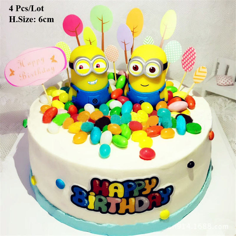 Us 168 50 Offbayi Laki Laki 1st Hadiah Ulang Tahun Minion Puncak Kue Ulang Tahun Dekorasi Mainan Untuk Anak Laki Laki Anak Anak Minion Cupcake