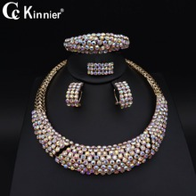 New Dubai Bridal wedding jewelry sets color Fashion Costume Imitated crystal necklace earrings african beads jewelry set Party charming peach crystal beads handmade african jewelry set wedding party beads necklace women fashion set free shipping aby337