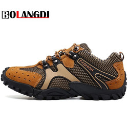 Bolangdi Brand Men Hiking Shoes For Outdoor Sport Climbing Mountain Sneakers Breathable Air Mesh Soft Athletics Trekking Shoes
