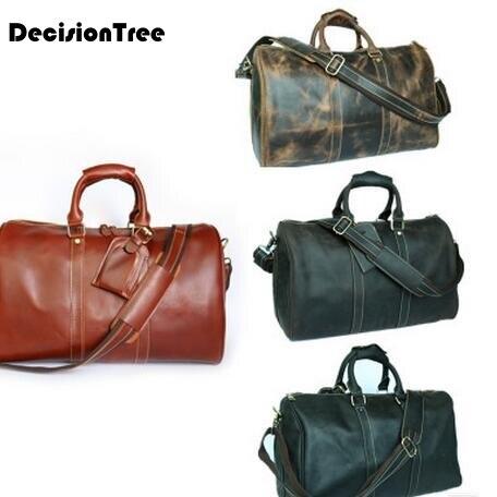 Mens Travel Bags New Fashion Genuine Leather Vintage Handbag Large Capacity Luggage Duffle Bag Casual Travel Bags