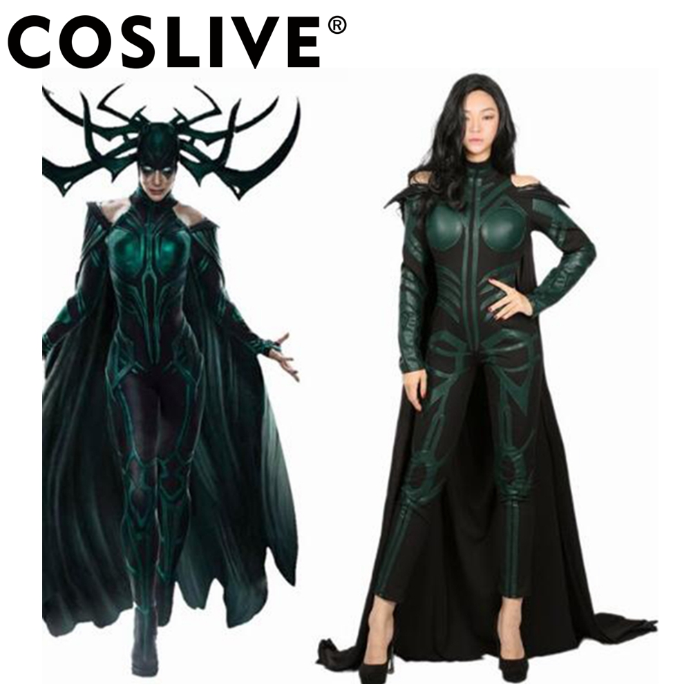 Coslive Hela Custome Thor: Ragnarok Cosplay Outfit Adult Full jumpsuit  Halloween Cosplay Costume For Women