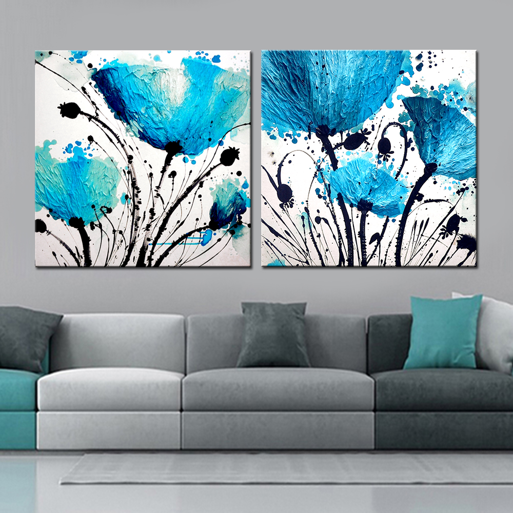 2 Panel Modern bule Flower Abstract Տպել Frameless Canvas Art Oil Painting Home Decoration Մոդուլային նկար Ննջասենյակի պատի համար