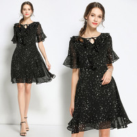New2018 Summer Fashion Ladies Plus size chiffon dress star printed elegant one piece dress V neck flare sleeve vestidos 4XL 5XL