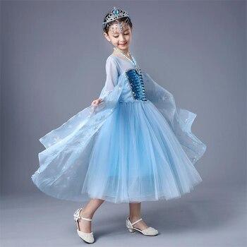 Girls Long Sleeve Elsa Dresses Kids Sequin Dress Children Halloween Cosplay Clothing Kids Party Clothes Fantastic Elsa Dress
