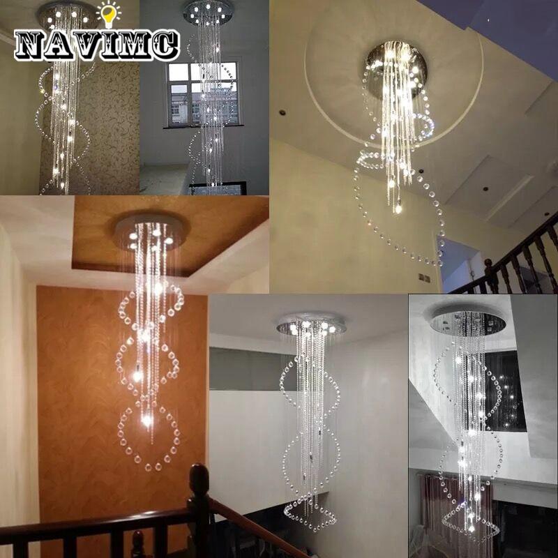 AuBergewohnlich Moderne Große Größe Kristall Kronleuchter Lange Spirale Treppen Leuchte Für  Foyer Hotel Villa