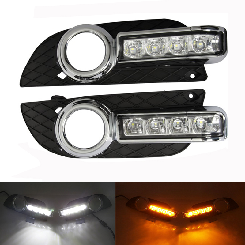 Daytime running light with dimmer function and yellow turn signals LED DRL daytime running light for MITSUBISHI Lancer EX 10-14 super bright led drl daytime running light for 2013 16 ford mondeo fusion fog lamp with dimmer function and yellow turn signals