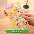 SST* 1 Sheet ' Miss. cat  ' Cartoon Cute Kawaii 3D Bubble Stickers Scrapbooking Sticker Creative Stationery Kindergarten Gift +