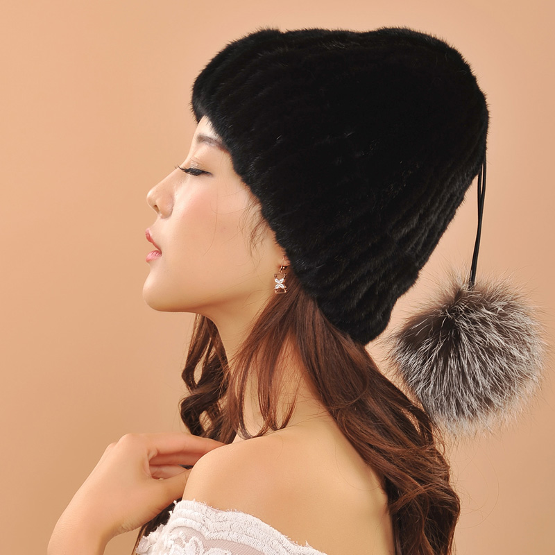 ФОТО Two winter warm hats style for women knitted mink fur hats with fox fur pom poms female cap casual women's hat