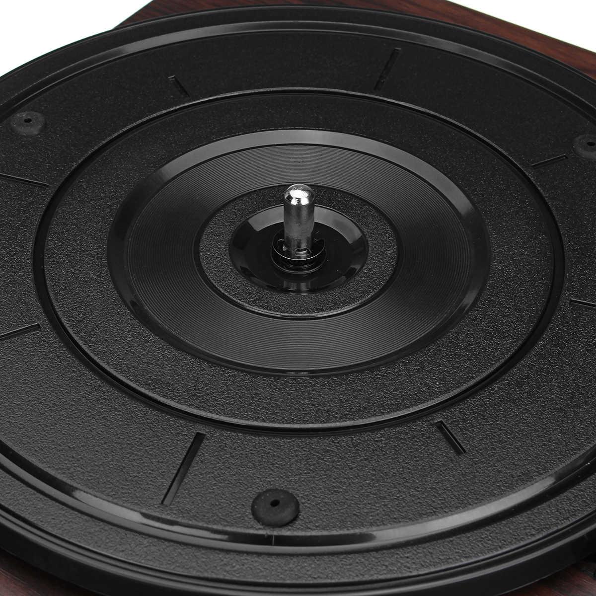 木の色記録レトロプレーヤー 33RPM ポータブルオーディオ蓄音機ターンテーブルディスクビニールオーディオ RCA R/L 3.5 ミリメートル出力 Out USB DC 5V