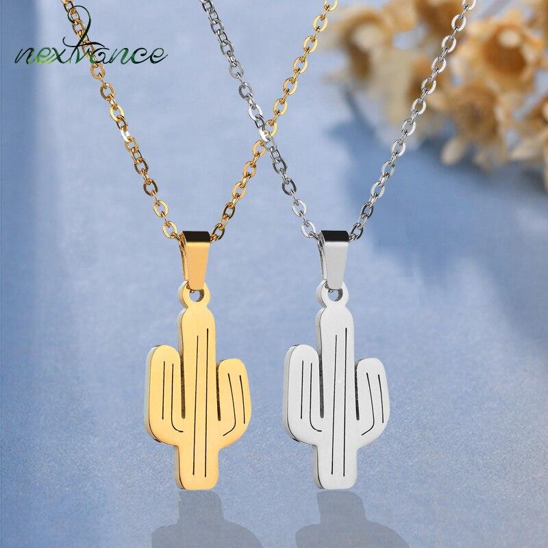 Necklaces & Pendants Nextvance Minimalism Cactus Pendant Necklace Metal Desert Saguaro Necklace For Girlfriend Creative Gift Collar Chain Necklaces