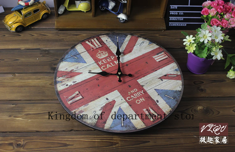 Best Promotion Modern Design British flag Vintage Rustic Shabby Chic Home Office Cafe Decoration Art Large Wall Clock