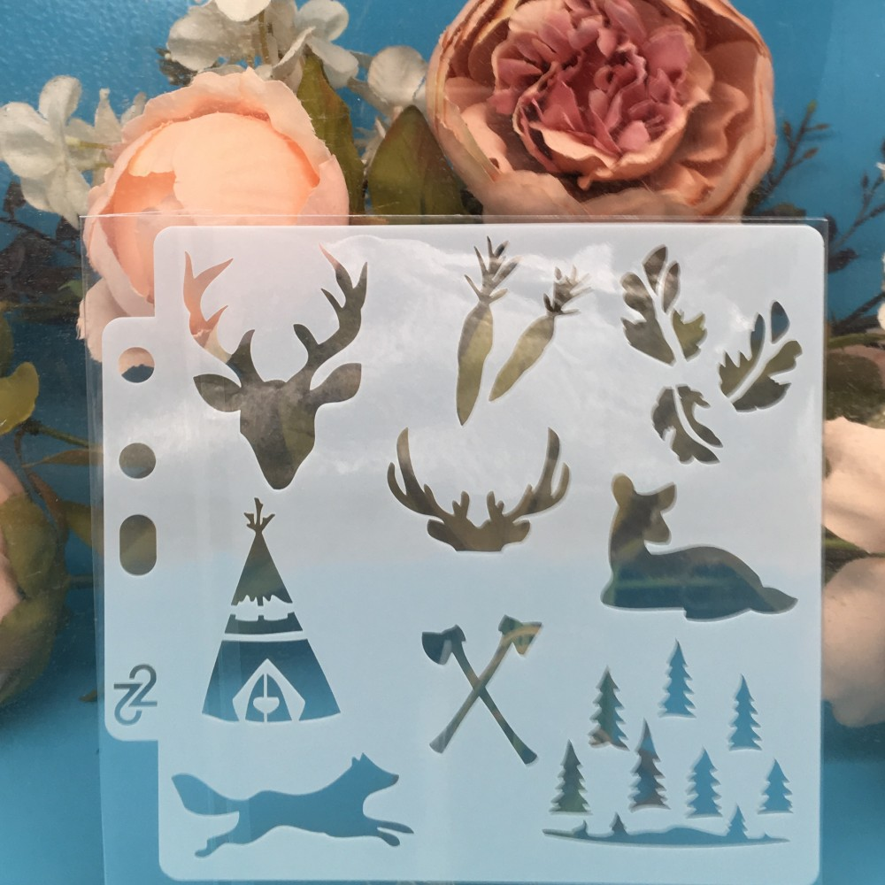 13cm Deer Fox Tree DIY Layering Stencils Wall Painting Scrapbook Coloring Embossing Album Decorative Paper Card Template