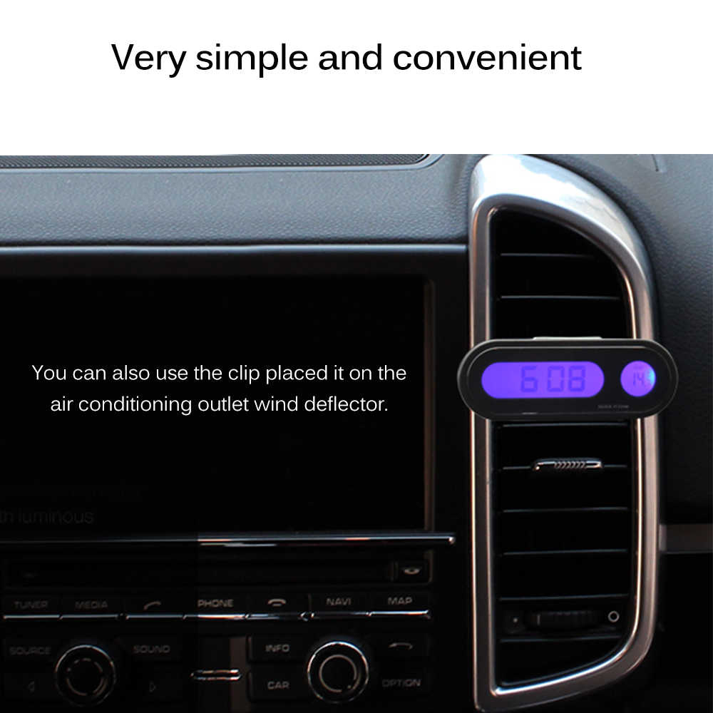 Onever Car Digital Clock Car Auto Clock Auto Decoration Ornament Mini Clock Hygrometer Thermometer In Car-Styling