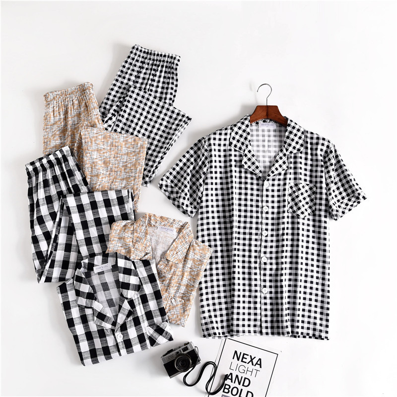 Summer New Mens Cool Comfortable Pajama Set Short-sleeved Trousers Men Sleepwear Sexy Pyjamas Pijama Hombre Men Pijamas Big Size