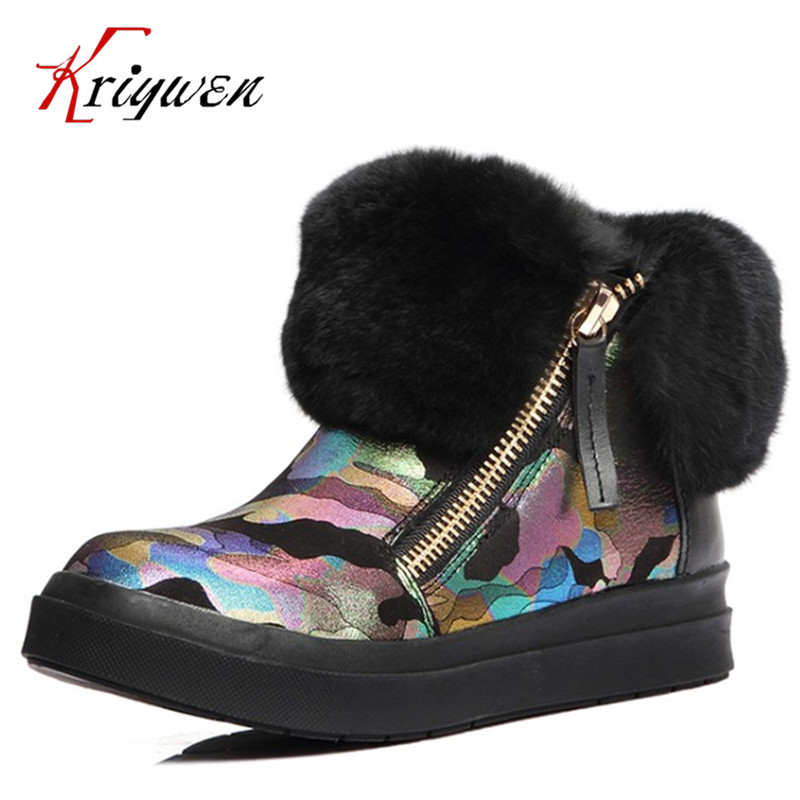 Spring Winter Short Ankle Boots Women Fur Shoes Boots Flats Heels Platform warm snow Boots genuine leather girl lovely Fur Shoes veowalk winter warm fur women short ankle boots cotton embroidered ladies casual canvas 5cm heels wedge platform booties shoes