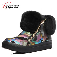 Spring Winter Short Ankle Boots Women Fur Shoes Boots Flats Heels Platform warm snow Boots genuine leather girl lovely Fur Shoes