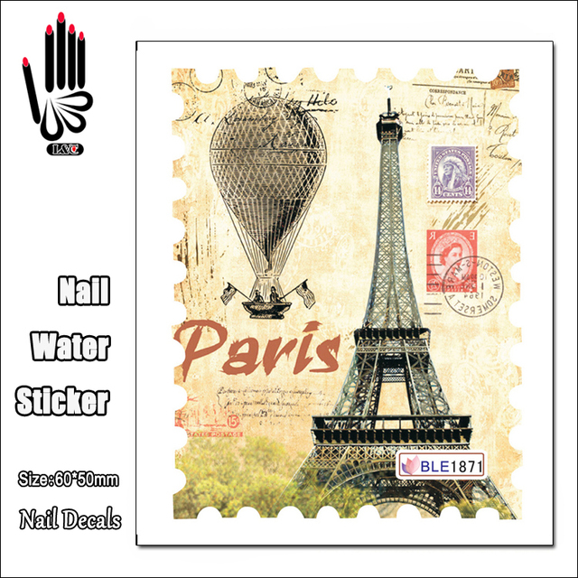 1 Sheet BLE1871 Scenic Spot Eiffel Tower Stamp Designs Nail Sticker Full Cover Art Water