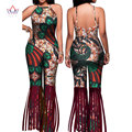 BRW African Rompers Womens Jumpsuit Out Off Shoulder Gallus Long Pants for Women High Waist Bodysuit Plus African Clothes WY1216