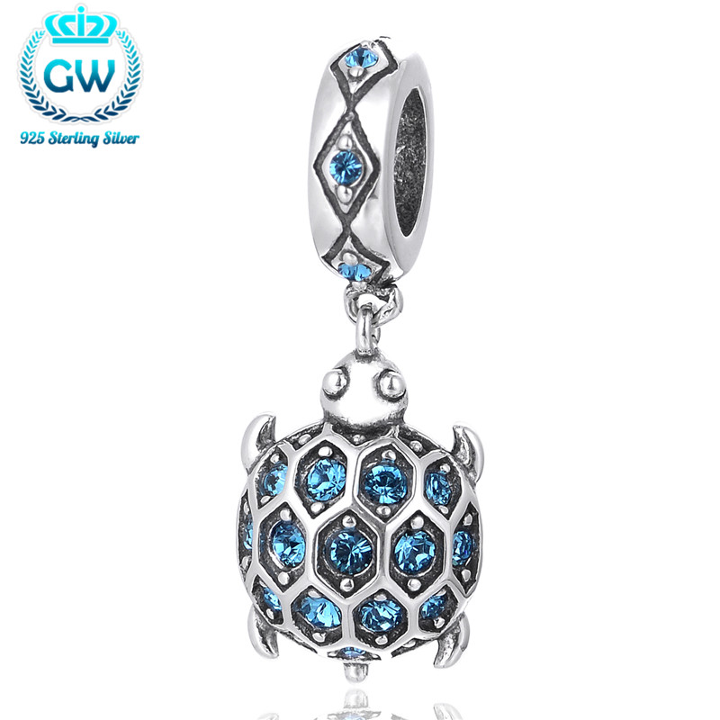 Silver 925 pendant  Jewelry Animal European Charms With Sky Blue Cz For Chain Bracelet Diy Fashion Jewelry Brand Jewelry