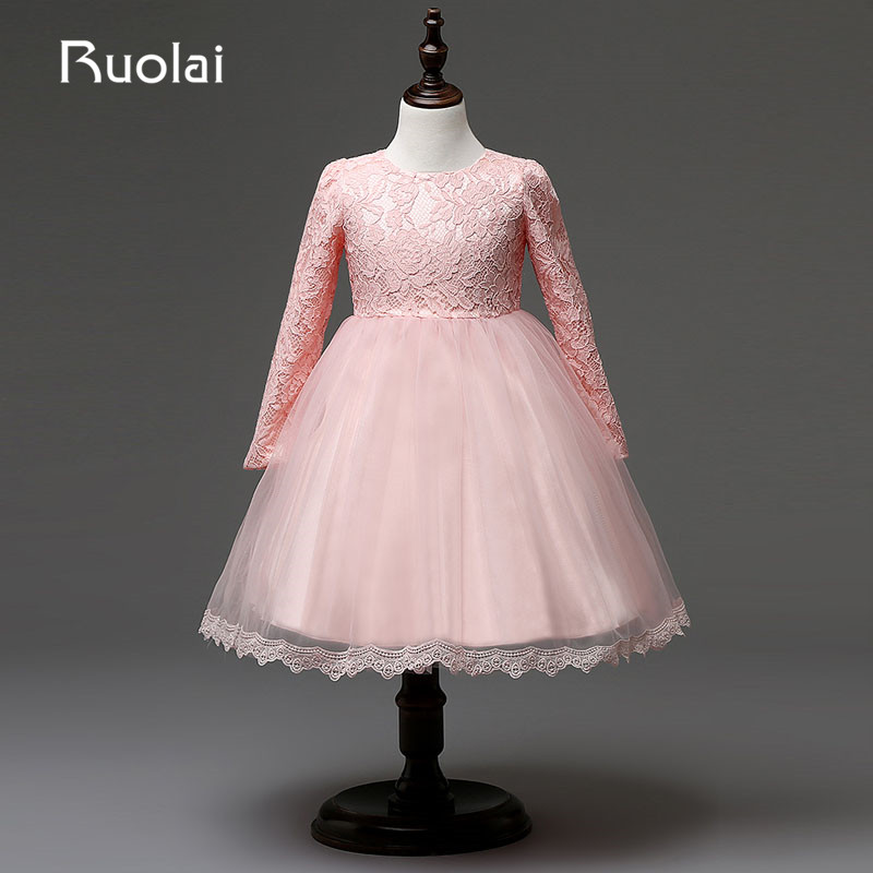 Real Picture High Quality Long Sleeves   Flower     Girl     Dress   for Wedding Birthday Party   Dress   Lace First Communion   Dresses   AFG28