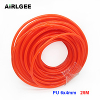 25M 82Ft PU 6mm x 4mm Pneumatic Air Polyurethane Hose Pipe Tube Orange Red For Air compressor