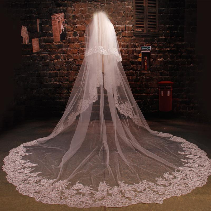 Top Quality Cathedral Length Wedding Veil With Comb Two Layers Veil Soft Netting Lace Appliques Bridal Veils White Ivory