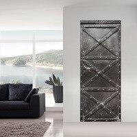 Patterns Iron Gate Door Wall Stickers Living Room Bedroom Wooden Door Renovation Creative Self Adhesive Decorative