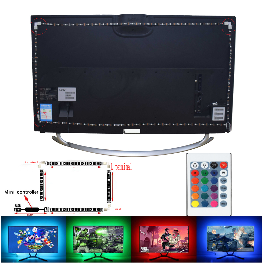 led-strip-rgb-5050smd-5v-1m-2m-16-color-change-with-usb-24key-ir-controller-for-tv-background-lighting-nowaterproof