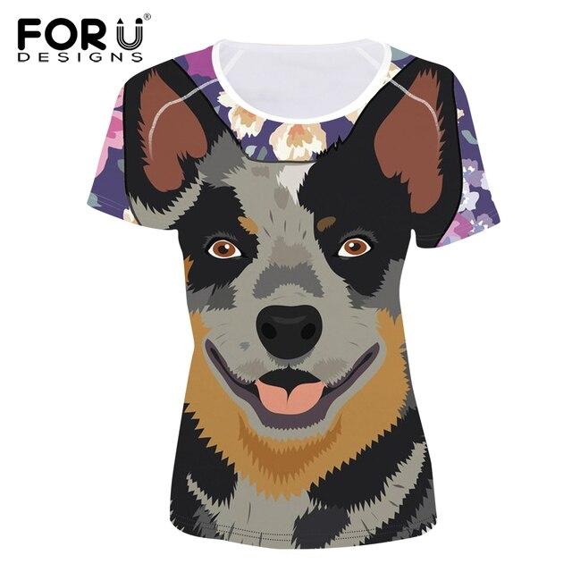Forudesigns Australian Cattle Dog Printed T Shirt Women Novelty Top Tee Harajuku Short Sleeve Funny Tshirt