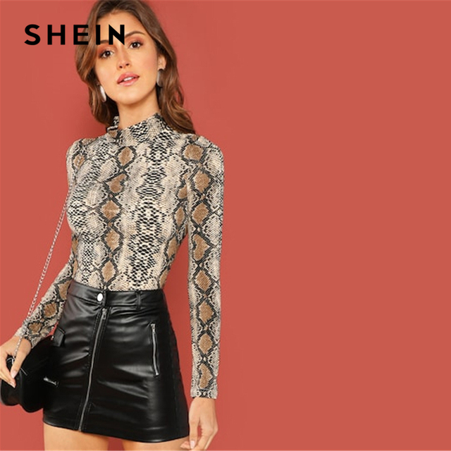 SHEIN Night Out Multicolor Mock Neck Grid Fitted Stand Collar Long Sleeve T-shirt Autumn Office Lady Casual Women Tshirt Top 1