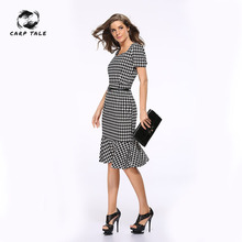 CARP TALE Womens Elegant Vintage Autumn Pinup Wear To Work Office Business Casual Cocktail Party Fitted  Dress