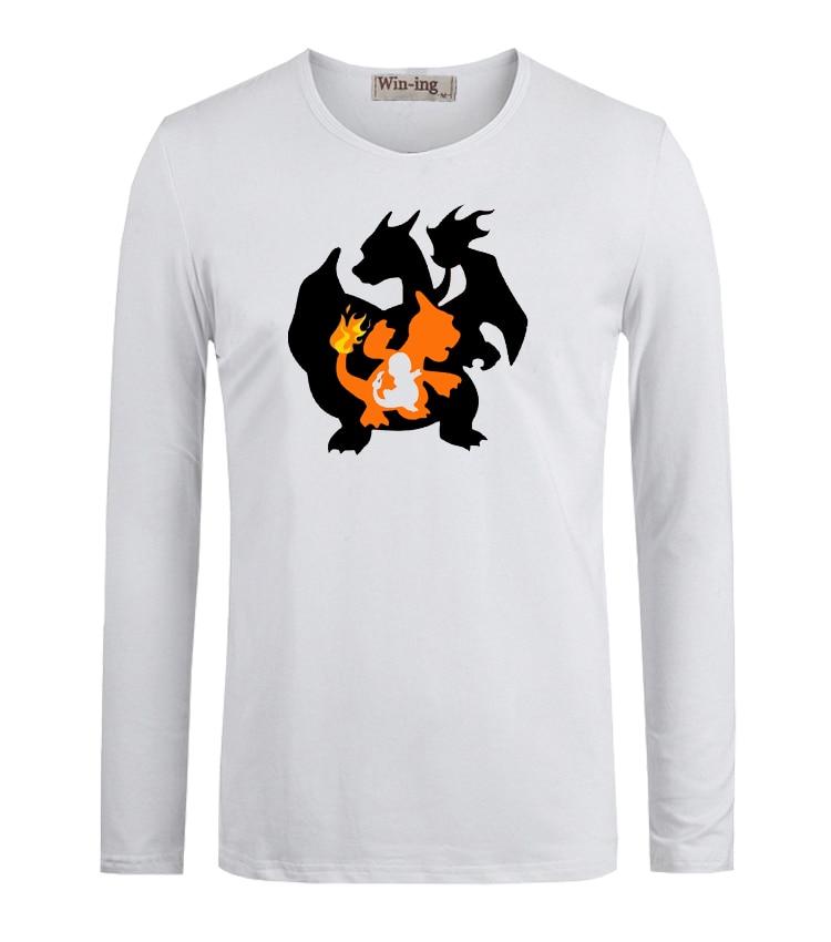 Summer Fashion T shirts Pokemon Charmander Charmeleon Charizard Art Printed Long Sleeves T-Shirt Men Boy Graphic Tee T shirt