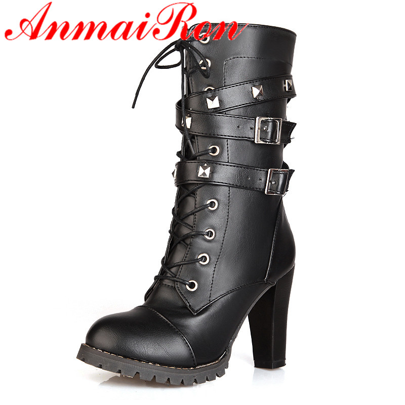 ANMAIRON Autumn Fashion Boots Mid-calf Boots Short Plush Winter Warm Shoes Lace-Up Women Round Toe Women Shoes Big Size 34-43 winter women boots basic fashion round toe comfortable flat shoes female footwear mid calf warm boots popular wholesale dgt674