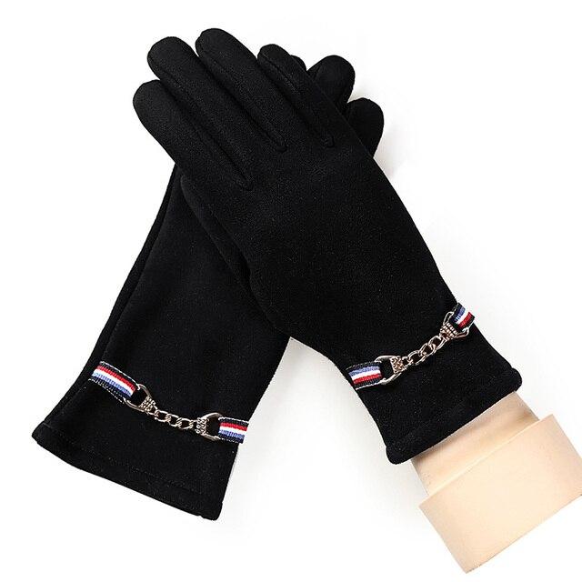 8b7ea90f726909 Neue Mode Damen Winter-Outdoor Sports Warm Touchscreen Handschuhe Frauen  Wildleder Kaschmir Spitze Lange Volle