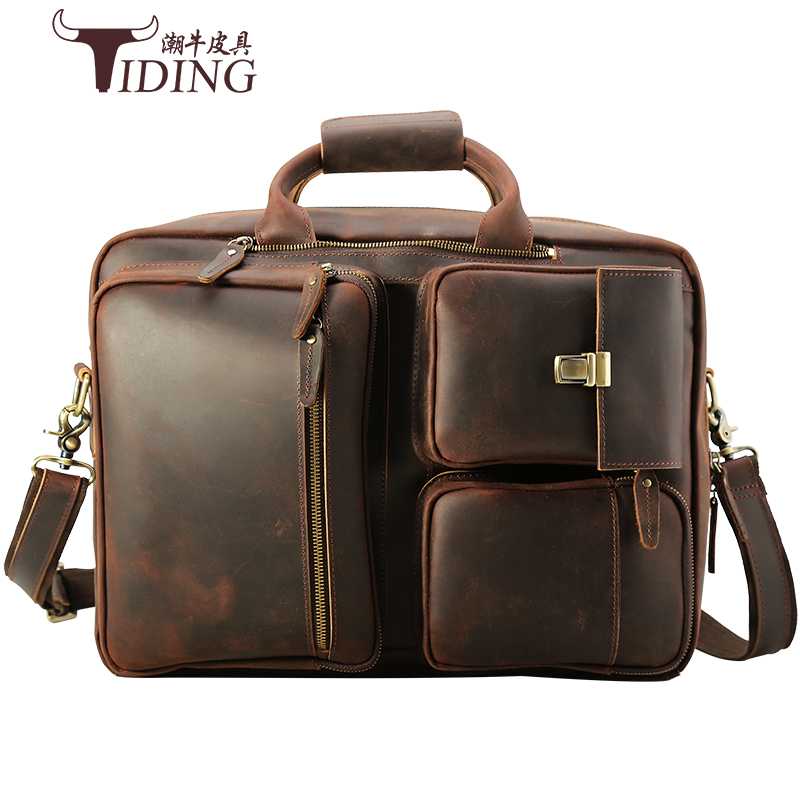 17 Laptop Briefcase Travel Crazy Horse Leather Handbag Bags For Men Large Capacity Vintage  Briefcases Shoulder Messenger Bag  : 91lifestyle