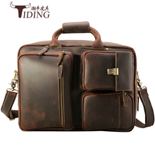 17 Laptop Briefcase Travel Crazy Horse Leather Handbag Bags For Men Large Capacity Vintage  Briefcases Shoulder Messenger Bag crazy horse leather travel bags handbag men s messenger bag dispatch briefcase fit in 17 inches laptop 7083b
