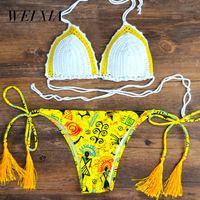 WEIXIA 2018 Black White Swimsuit Push Up Women Z006 Low Waist And Low Waist Bikini Set