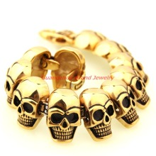 8.66″ *26mm Heavy Boy Bracelet  316L Stainless Steel Skulls heads Gothic Gold Black Men Bracelet For Boyfriend Jewelry Xmas Gift