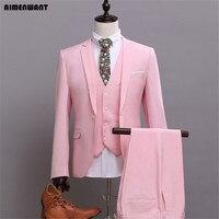 Aimenwant/мужской костюм, комплекты наивысшего качества, английский розовый приталенный Блейзер, костюм на одной пуговице + жилет + брюки, костюм