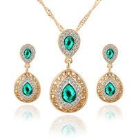 Women Bridal Wedding Jewelry Sets Charm Water Drop Pendant Necklaces Earrings Sets Bijoux Femme