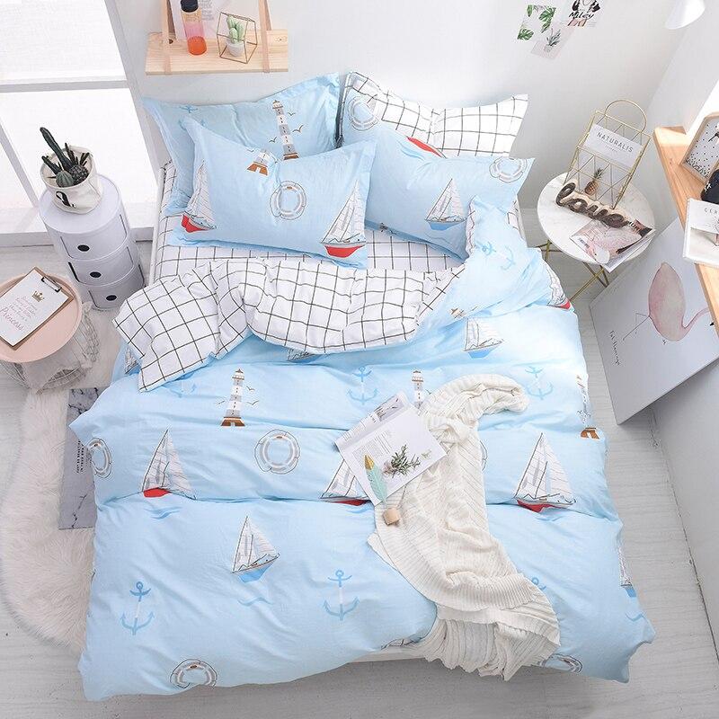 라이트 블루 보트 탐색 여름 duvet 커버 세트 플랫 시트 4 pcs 100% m 또는 1.2 m 침대 크기와 1.5 코 튼 원단 부드러운 침대 세트-에서침구 세트부터 홈 & 가든 의  그룹 1