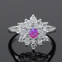 Wholesale Retail Bling Pink Fire Opal Stones CZ Claw Inlay Prong Setting Women Rings Size 6