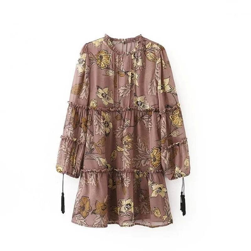 women dress Autumn winter long sleeve ruffle chiffon dress Vintage loose short dress Boho floral print tassel vestidos 17