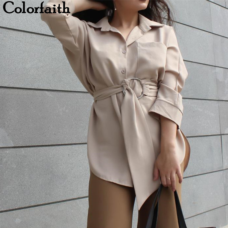 Colorfaith Women Long Blouses 2019 Autumn SpringCasual Buttons Ladies Elegant Lace-up Fitted Waist Retro Tops shirt BL3039